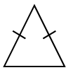 Triangle labeled Isosceles triangle, with sides labeled as follows: left & right sides, 1 tick mark.