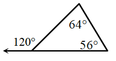 A triangle has two angles 64 degrees and 56 degrees. The exterior angle of the third interior angle is 120 degrees.