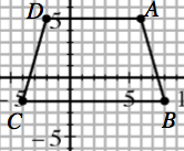 Graph of a trapezoid centered at the point (2, comma 1.5), with equal non parallel sides.