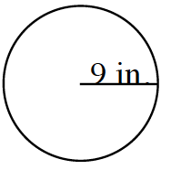 A circle with a horizontal line segment, from the center to right edge, labeled 9 inches.