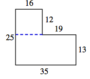 The same enclosed figure, divided into 2 rectangles, by extending the horizontal 19 unit line to the left.