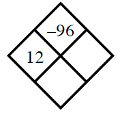 Diamond Problem. Left 12, Right blank, Top negative 96,  Bottom blank