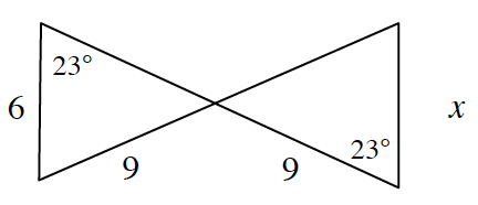 Two line segments intersect forming two triangles when a line segment goes across the ends at the left and right sides. It looks like a bow tie. For the left triangle, the base is 6. A 23 degree angle is at the upper left corner. and the side opposite the 23 degree angle is, 9. For the triangle at the right, the lower right angle is 23 degrees. The base at the right is, x. On the other side of the 23 degree angle, is 9.