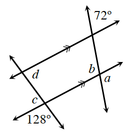 Two increasing transversal lines, crosse two parallel lines. At the upper intersection of the left transversal: interior right is, d.  At the lower intersection of the left transversal: interior left is, c, and exterior left is 128 degrees . At the upper intersection of the right transversal: exterior right is,72 degrees.  At the lower intersection of the right transversal: interior left is, b, and exterior right is, a .