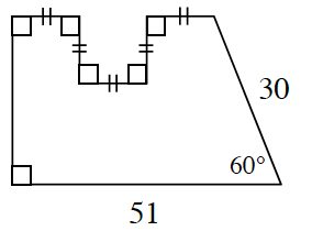 An enclosed figure.  Draw, x, units to the right, x units down, x units to the right, x units up, and x units to the right. Then draw diagonal downward and to the right 30 units. Draw left 51 units creating a 60 degree angle between the 30 unit side and the 51 unit side.  Then draw up to the beginning to enclose the figure.
