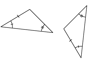 Two triangles both with one side marked with one tick mark, one angle marked with one tick mark, and the second angle marked with two tick marks. A, A, S