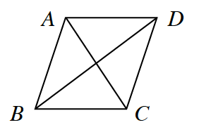 A quadrilateral A, B, C, D with diagonals A, C and B, D.
