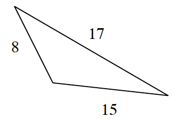 A triangle with side lengths 8, 15, and 17.