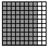 A 10 by 10 block of 100 where 8 columns of 10 are shaded.