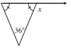 A triangle has an angle of 36 degrees. The other 2 angles are marked with one tick mark. The side opposite the 36 degree angle is extended, creating an exterior angle labeled, x degrees.
