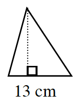 An acute triangle with a base of 13 centimeters.