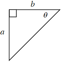 A right triangle with base of, b, and height of, a. Angle theta is opposite side, a.