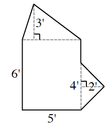 Rectangle, labeled 6' high, by 5' wide, with a triangle extended from the top side, with a dashed line from the top vertex, perpendicular to the top of the rectangle, labeled 3'. Another triangle, extended from the right side, sharing bottom vertex with bottom right vertex of rectangle. Triangle has shared side with rectangle, labeled 4', & perpendicular segment from right vertex to opposite side, labeled 2'.