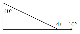 A right triangle with an internal angle 40 degrees.  The leg opposite the 40 degree angle is extended and the exterior angle is 4, x, minus 10 degrees.