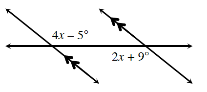 Two increasing parallel lines is cut by a transversal. Where the left parallel line and the transversal intersect, the interior, upper angle is 4, x minus 5 degrees. Where the right parallel line and the transversal intersect, the interior, lower angle is 2, x plus 9 degrees.
