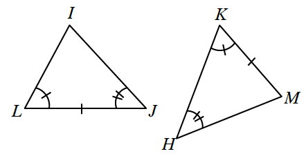 2 triangles, I,J,K, & H,K,M, labeled as follows: side L,J, 1 tick mark, angle L, 1 tick mark, angle J, 2 tick marks, side K,M, 1 tick mark, angle K, 1 tick mark, angle H, 2 tick marks.