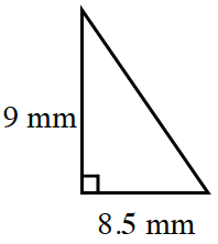 Right triangle, with short leg, 8.5 mm, and long leg, 9 mm.