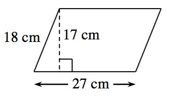 Paralelogramo, inclinado hacia la derecha, con el lado de abajo, rotulado 27 centímetros, el lado izquierdo rotulado 18 centímetros. Se crea un triángulo rectángulo mediante un segmento de recta de 17 centímetros, trazado desde el vértice izquierdo de arriba hasta el lado de abajo, en un ángulo de 90 grados con respecto a la parte de abajo.