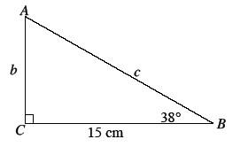 Right triangle, A B C, labeled as follows: Leg, B C 15 cm, Leg, A C, b, hypotenuse, A B, c, angle, B, 38 degrees.