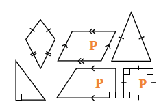 A kite, parallelogram (labeled P), isosceles triangle, right triangle, right trapezoid (labeled P) and square (labeled P).
