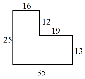 An enclosed figure starting at the upper left corner, right 16, down 12, right 19, down 13, left 35, up 25 to enclose the figure.