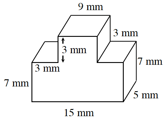 A prism where the base can be drawn as follows in millimeters: 3 right, 3 up, 9 right, 3 down, 3 right, 7 down, 15 left, 7 up to enclose the base. The height of the prism is 5.