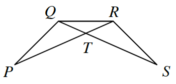 2 obtuse triangles overlap each other. Triangle Q,R,P, with side Q,R, on the top, & angle Q is obtuse. Triangle Q,R,S, also with side Q,R, on the top, & angle R is obtuse. Sides Q,S, & R,P, intersect at point, t.