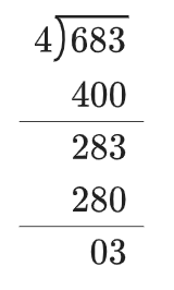 A division box shows 4 on the left, and 683 inside.   400 is below 683, with difference of 283.   280 is below 283, with difference of 3.