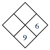 Diamond Problem. Left blank, Right 6, Top blank, Bottom 9