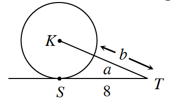 A tangent line to a circle, center, K, is labeled, S, at the point of tangency. A extended line segment from, K through the circle at an angle meets the tangent line at, T. S, T is 8. Angle S, T, K, is, a. The distance from, T to the edge of the circle along K, T, is, b.