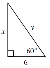 A right triangle with a base of 6, height of x, and hypotenuse of y. The 60 degrees angle is opposite side, x.