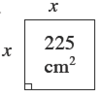 A 225 square cm square. The length of the side is, x.