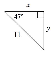 Triángulo rectángulo con los catetos rotulados x y ye, y la hipotenusa rotulada 11. El ángulo opuesto al lado ye está rotulado 47 grados