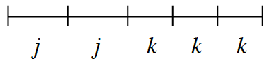 Line Segment, with 5 sections. First 2 equal sections labeled, j, and last 3 equal, but different length sections, labeled, k.