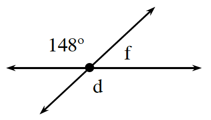 2 intersecting lines. About the point of intersection, 148 degrees and angle, D, are vertical angles. Angle, F, is between the two.