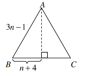 Equilateral triangle A, B, C. Side A, B is 3, n minus 1. A line segment is drawn from the upper vertex, A, perpendicular to the base.   The left side of B, C, to the right angle is labeled, n = 4.