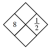 Diamond Problem. Left 8, Right 1 divided by 2, Top blank,  Bottom blank