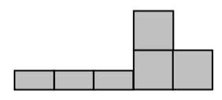 Three half unit tiles connected horizontally. A column of two unit tiles is connected to the bottom right of the half unit tiles and one more unit tile is connected to the bottom right of the column.