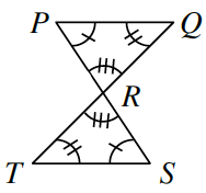 Line segments, P, S, and T, Q, intersect at R. Two triangles P, Q, R, and R, S, T, are formed. Angle P and angle S are both marked with one tick mark. Angle Q and angle T are both marked with two tick marks. Angle R is marked with three tick marks in each triangle.