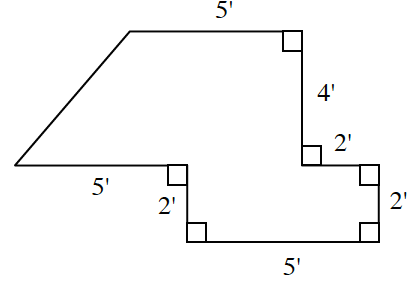 An enclosed figure. Starting from the upper left corner: right 5 feet, down 4 feet, right 2 feet, down 2 feet, left 5 feet, up 2 feet, left 5 feet, & unknown feet to diagonally enclose the figure.