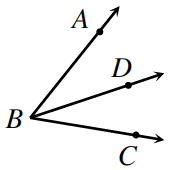 Angle A, B, C with line B, D between.