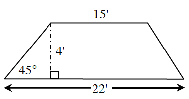 A trapezoid with bottom base 22 feet, top base 15 feet, and an interior angle 45 degrees between left side and base. A right triangle is created by a line segment of 4 feet drawn perpendicular from the upper left vertex to the base.