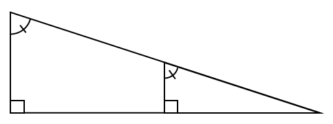 A right triangle has an embedded right triangle such that the bases are parallel and the angles equal.