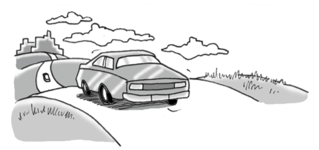 Car driving down road.
