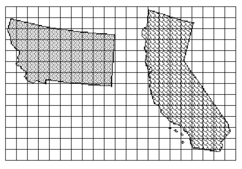 Grid showing areas of Montana and California