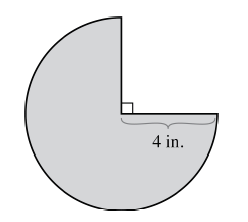 A shaded circle where the top right quarter is missing. The radius of the circle is labeled as 4 inches