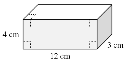 A box with the front, top, and right sides visible, labeled as follows: front left edge, 4 cm, front bottom edge, 12 cm, right bottom edge, 3 cm.