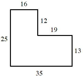 An enclosed figure: Starting at the upper left corner: right 16, down 12, right 19, down 13, left 35, up 25 to enclose the figure.