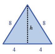 An equilateral triangle, side, 8, where a perpendicular line is dropped from the top vertex to the bottom base splitting the bottom base into two lengths of 4.