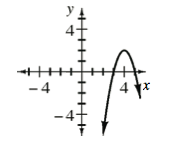 Downward parabola, vertex at (4, comma 2), with points at (3, comma 0), & (5, comma 0).